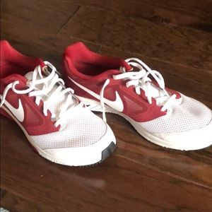 Crimson and white nike shoes